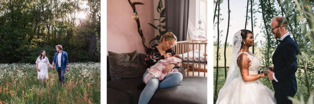 Diverse soorten fotografie, waaronder zwangerschapsfotografie, newbornfotografie en bruiloften.