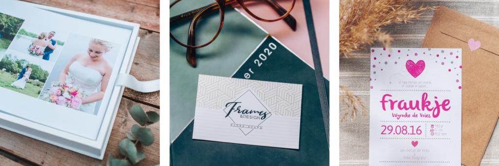 Diverse producten die zijn vormgegeven, zoals babykaarten, visitekaartjes, trouwalbum.